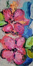 "Load image into Gallery viewer, Original painting ""Symphony of Petals"" oil on birch panel, 4"" x 8"""