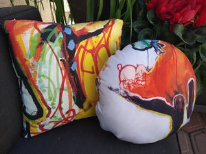 "Artful Pillow, home accent, 16"" x 16"" round, ""The Get Down"" side 1, ""Mesmerizing"" side 2"
