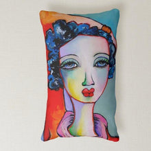 "Load image into Gallery viewer, Artful printed lumbar pillow with artwork by Liz Vaughn. 13"" x 21"""