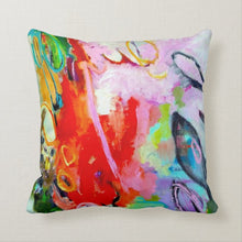 "Load image into Gallery viewer, Artful printed lumbar pillow with two separate designs. 16"" x 16"""