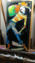 "Load and play video in Gallery viewer, Original Painting, ""Pose"", oil on birch panel,  two panels, each 6"" x 24"""