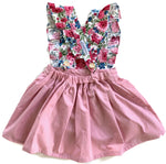 Load image into Gallery viewer, Dusty Pink & Floral | Pinafore Dress W/Flutters