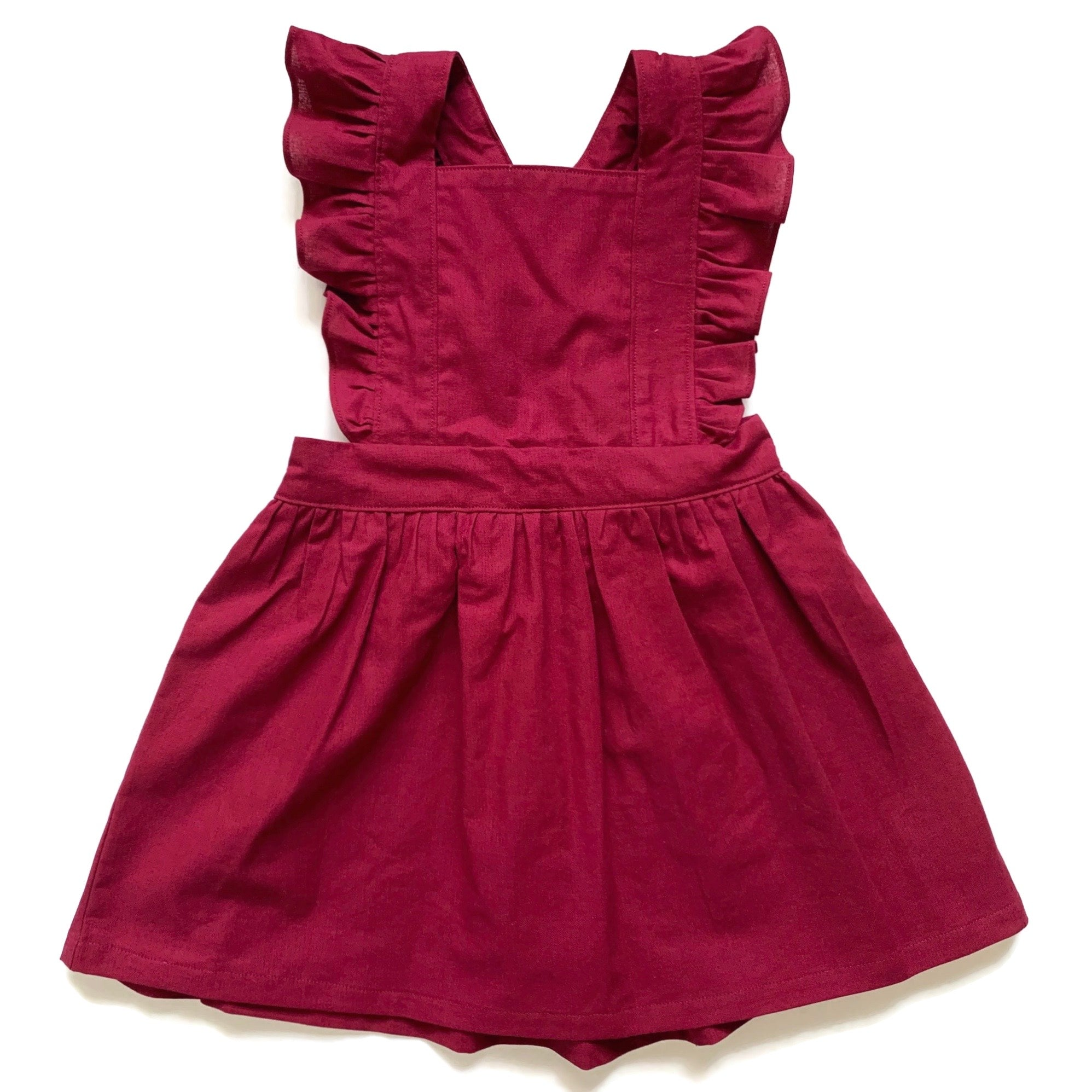 Burgundy | Pinafore Dress W/Flutters