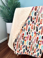 Load image into Gallery viewer, Funky Feathers | Minky Blanket (Lemon)