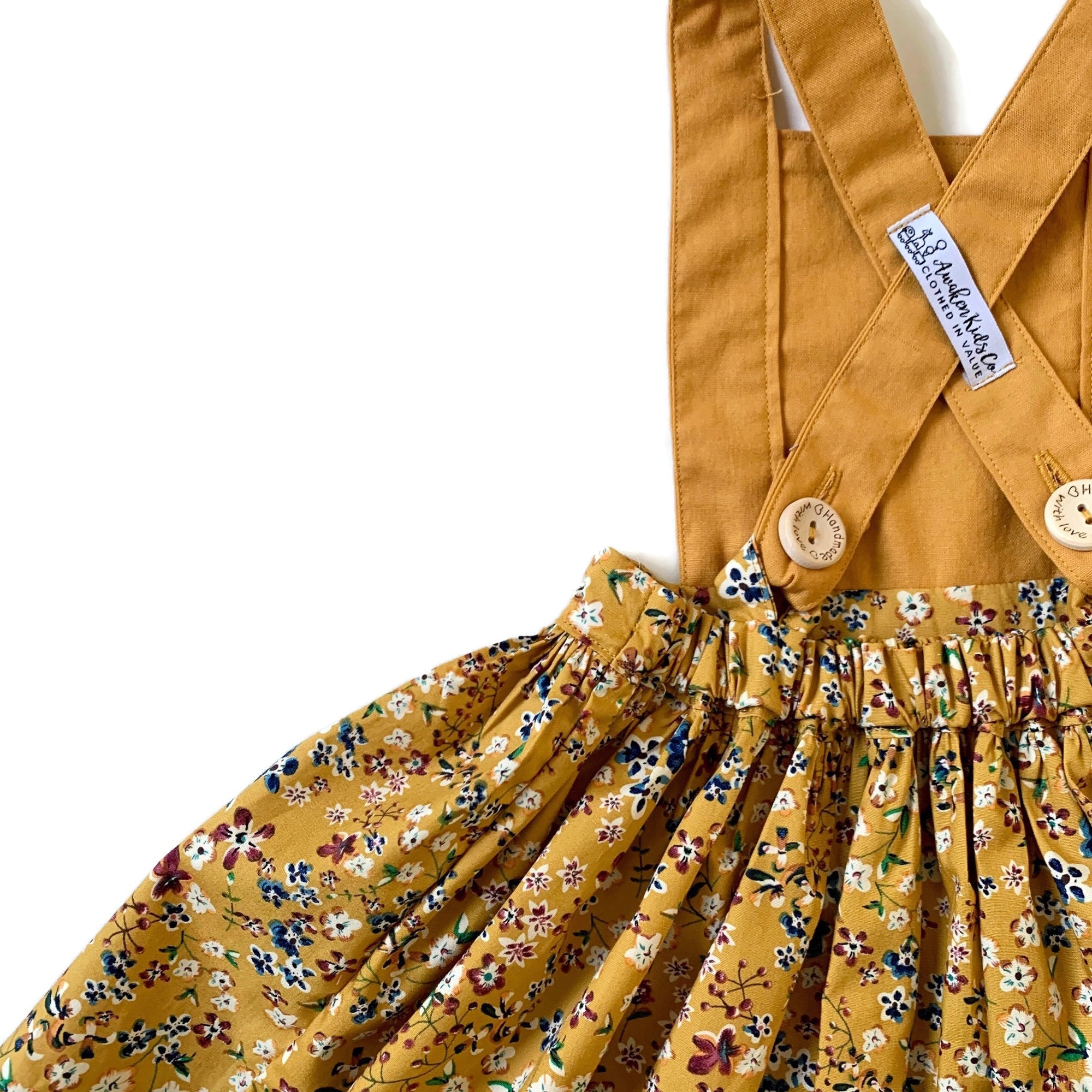 Mustard Vintage Floral | Pinafore Dress