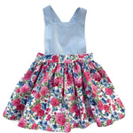 Load image into Gallery viewer, Light blue linen & Floral | Pinafore Dress