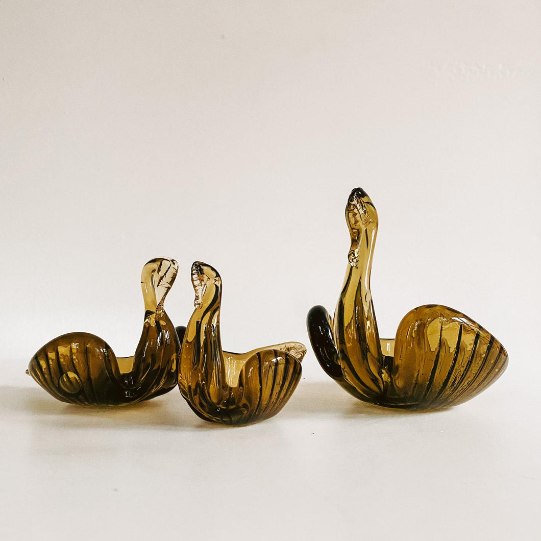 Set of 3 Italian Glass Swans