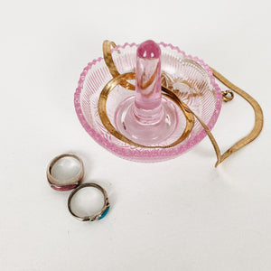 Glass Ring Drop in Pink