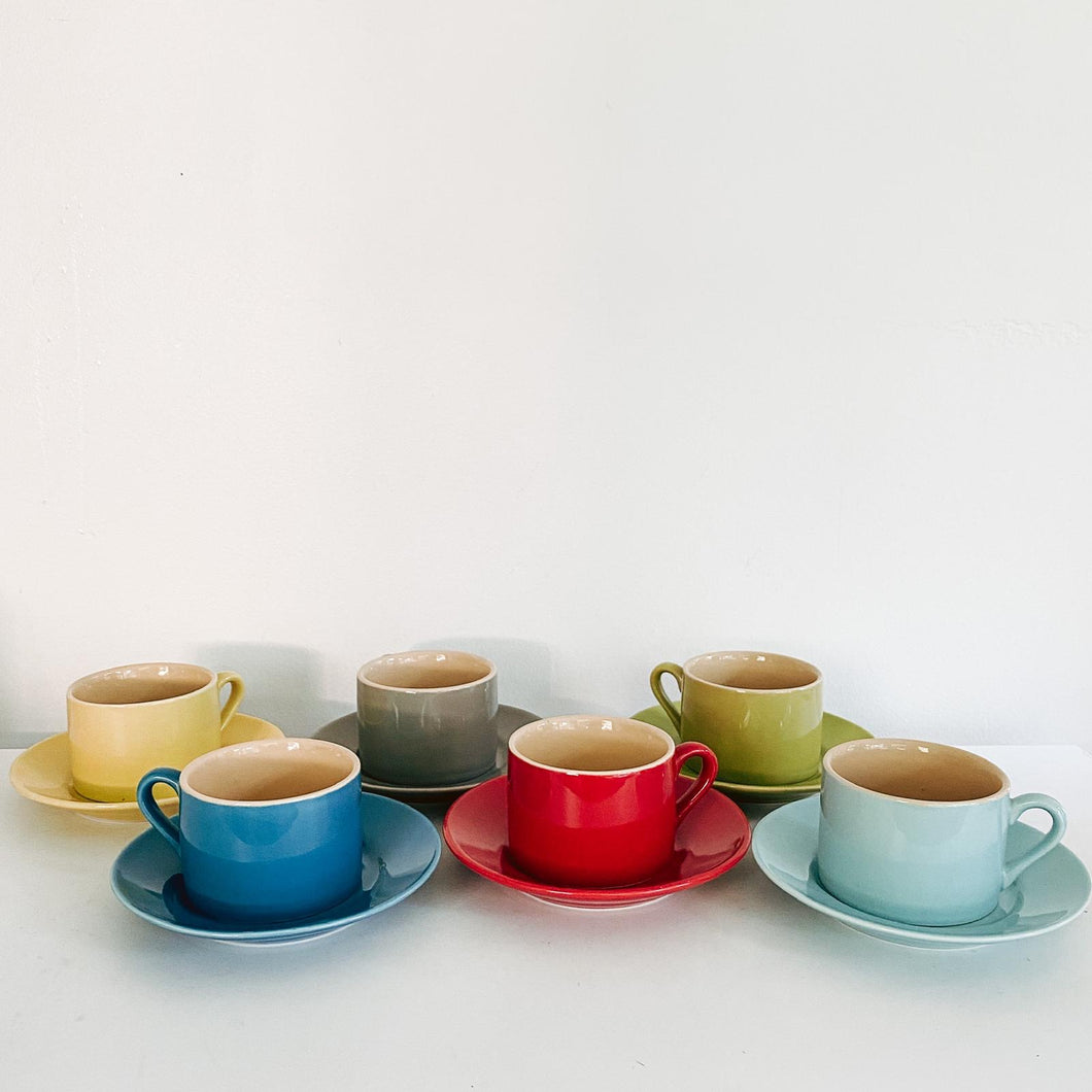 Set of 6 Multi Colored Espresso Cups