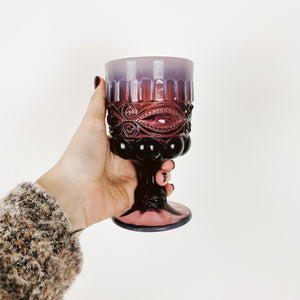 Raspberry Glass Opal Rimmed Goblets - Sold Individually