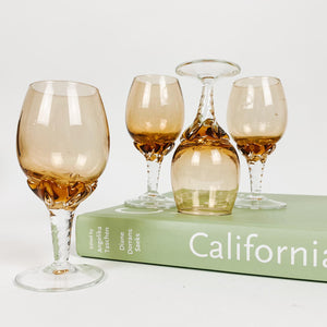Set of 4 Two Tone Amber Cordials