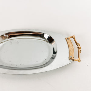 Metal Serving Tray with Gold Handles