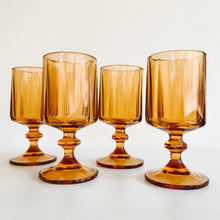 Load image into Gallery viewer, Set of 4 Amber Goblets