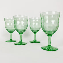 Load image into Gallery viewer, Set of 4 Lime Green Depression Glasses