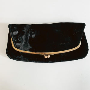 Fold Over Black Velvet Clutch