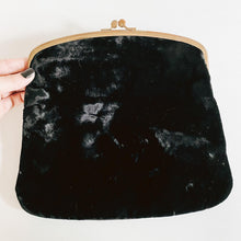 Load image into Gallery viewer, Fold Over Black Velvet Clutch