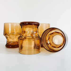 Set of 4 Amber Stemless Goblets