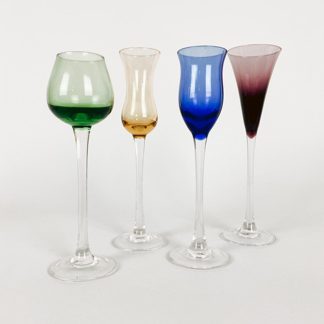 Set of 4 Multi Colored Long Stemmed Cordials