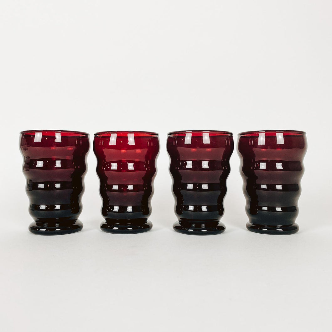 Set of 4 Red Juice Glasses