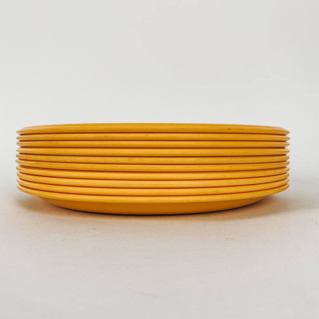 Set of 4 Melamine Yellow plates