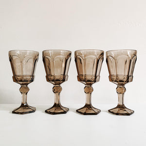 Set of 4 Smoked Wine Goblets