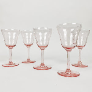 Set of 5 Pink Depression Glass Cordials