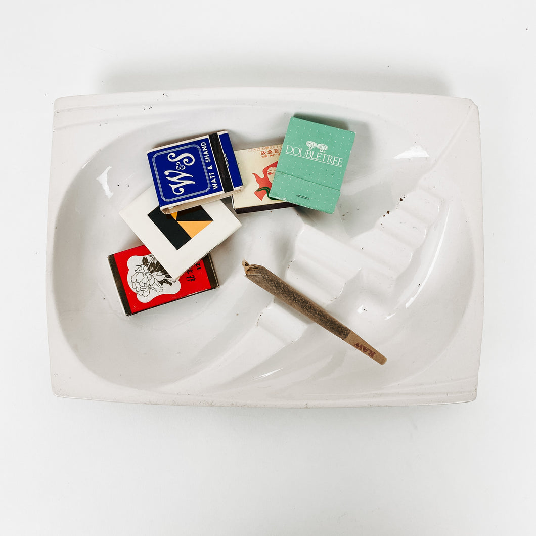 White Mid Century Ceramic Ashtray