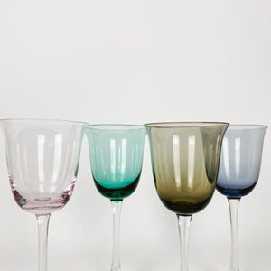 Set of 4 Multi Colored Wine Glasses