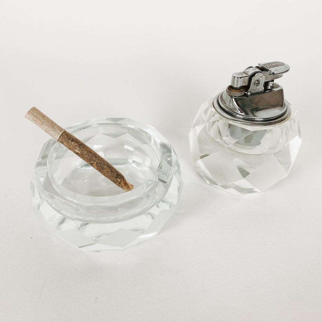 Swank Glass Lighter and Ashtray Set