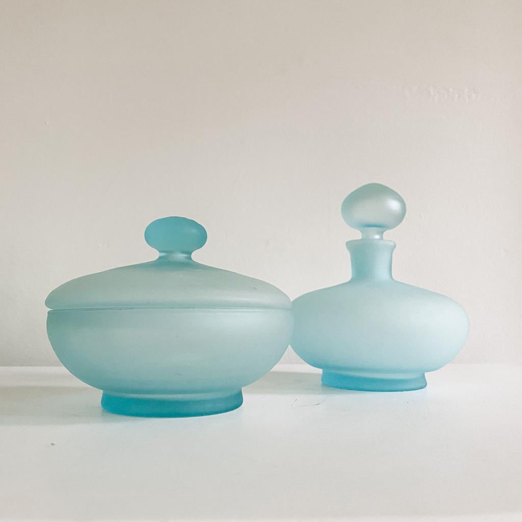 Frosted Glass Decanter and Smoke Jar Set - Blue