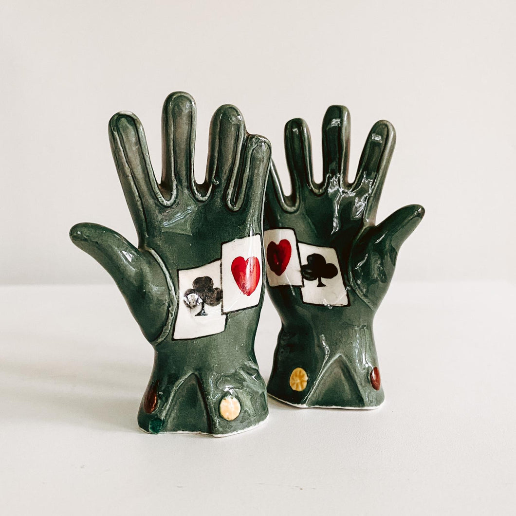 Glove Ceramic Salt and Pepper Shakers
