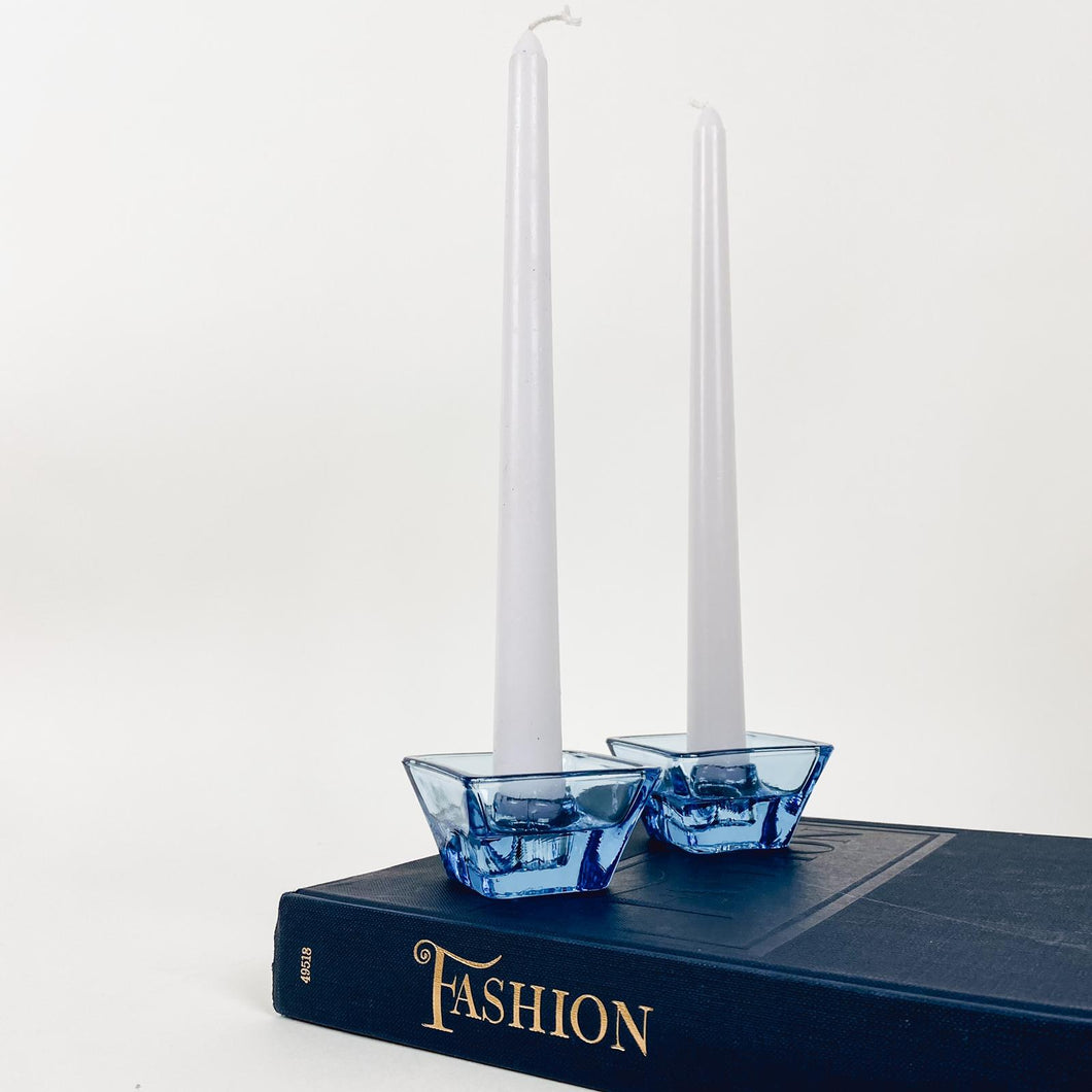 Pair of Low Profile Blue Glass Candlestick Holders