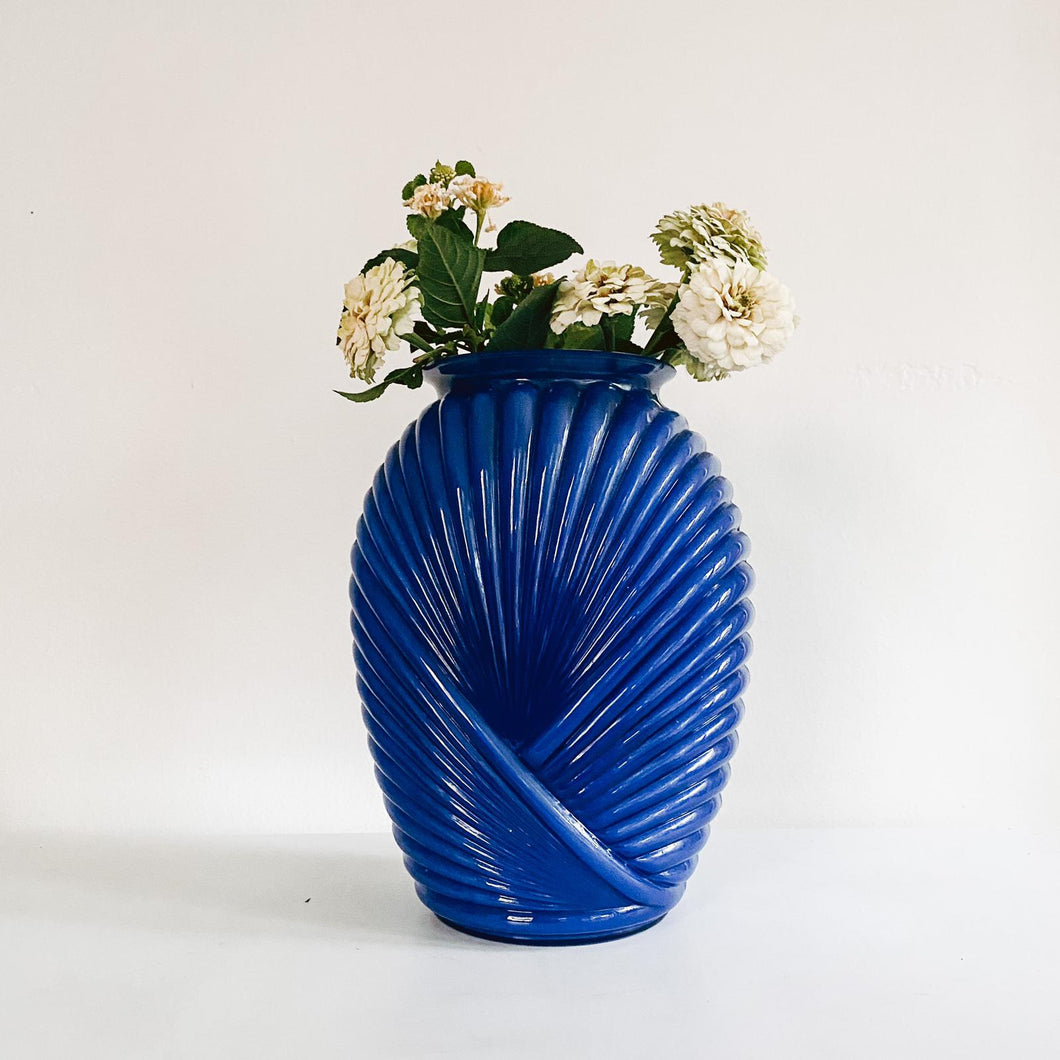Royal Blue Art Deco Ribbed Vase