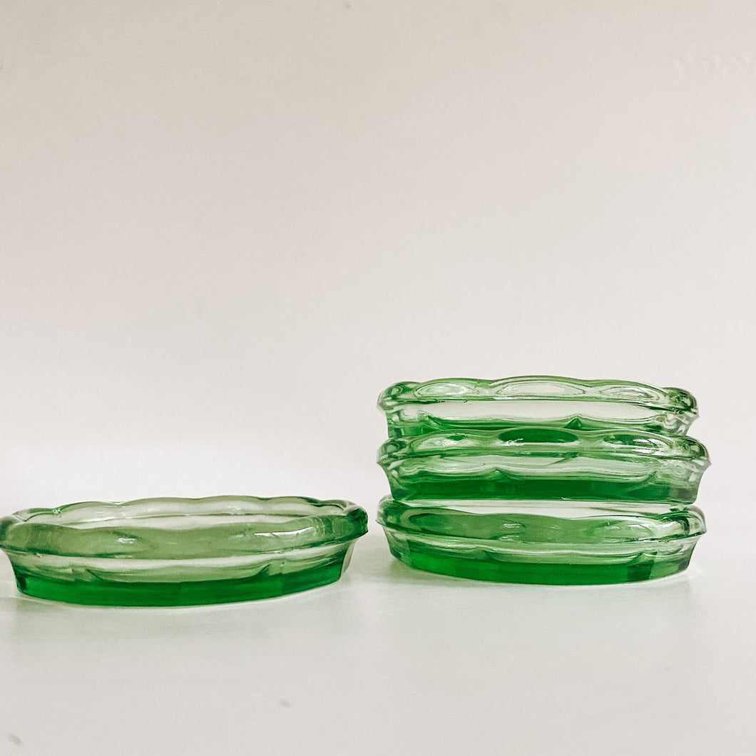 Set of 4 Green Glass Coasters