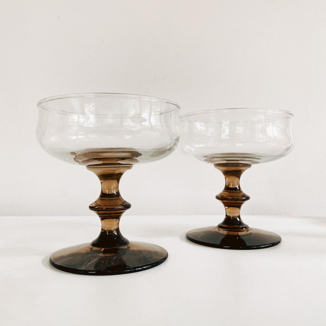 Set of 2 Smoked Stemmed Coupes