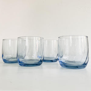 Set of 4 Blue Glass Shorties