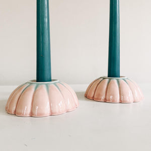Pair of Pink Ceramic Flower Candlestick Holders