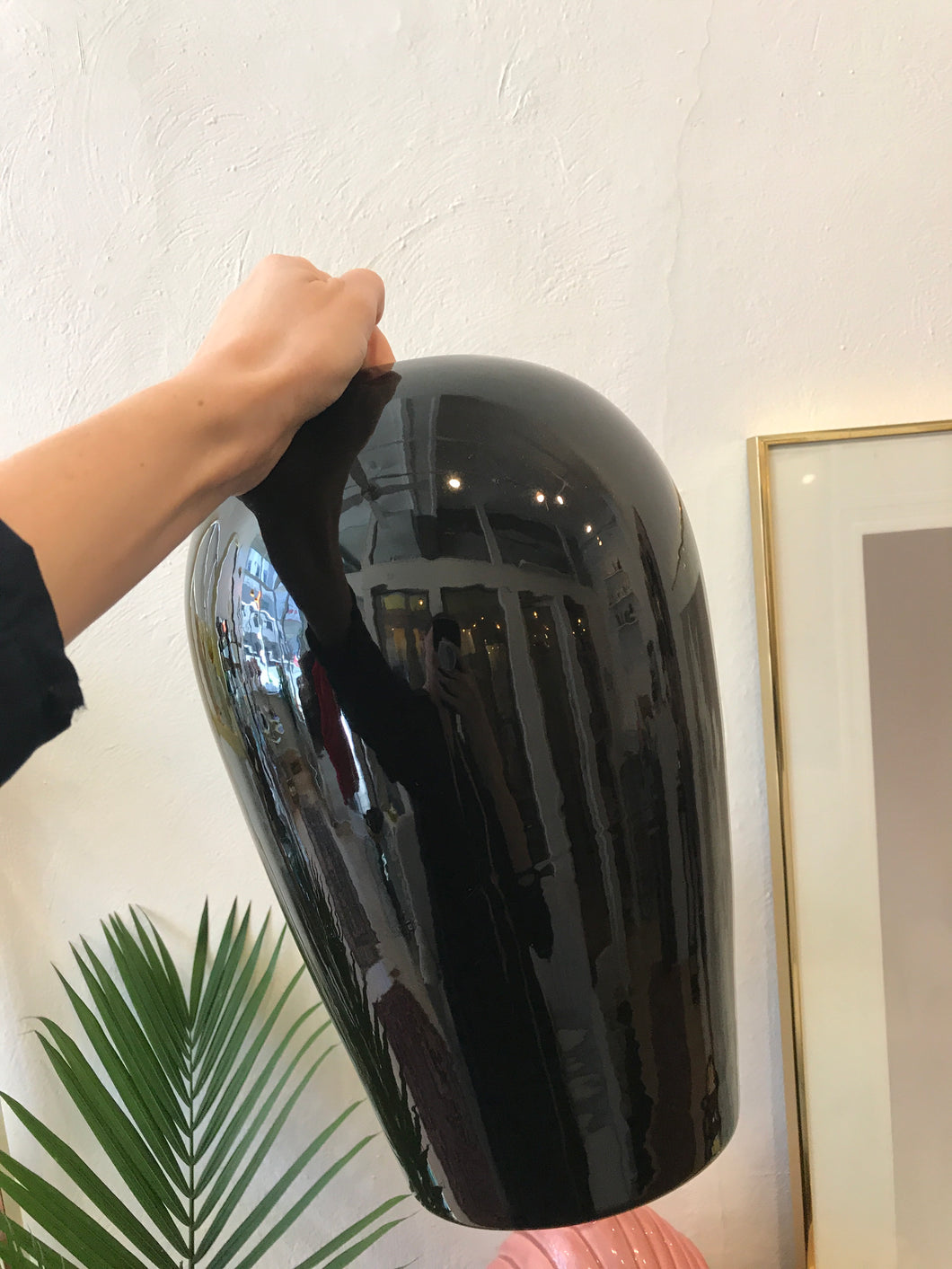 Big Black Ceramic Vase