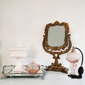 Silver Handled Mirror Vanity Tray