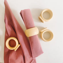 Load image into Gallery viewer, Set of 4 Yellow Ceramic Napkin Rings