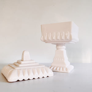 Pink Milk Glass Pedestal Stasher