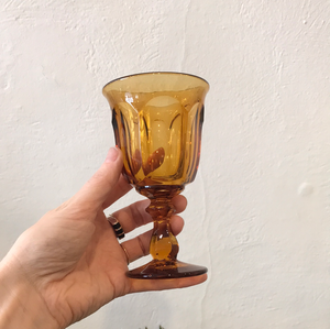 Set of 6 Small Amber Goblets
