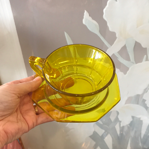 Set of 4 Yellow glass Espresso Cups with plates