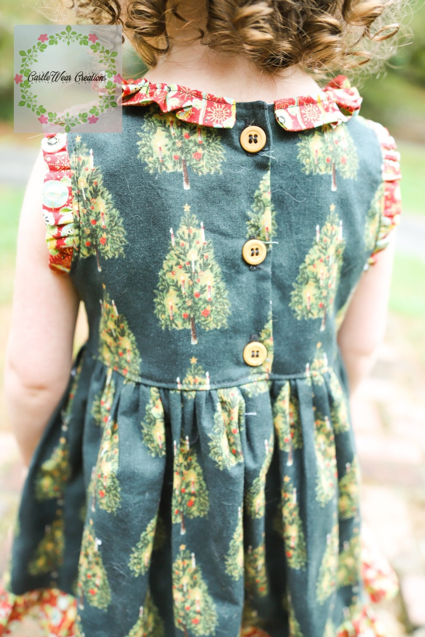 Candlelit Christmas Trees Vintage Dress