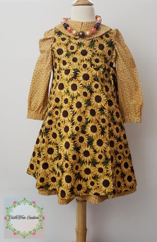 Sunflowers in Harvest Gold Pinafore & Dress Set