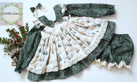 Fairy Frosted Trees Pinafore Dress Set
