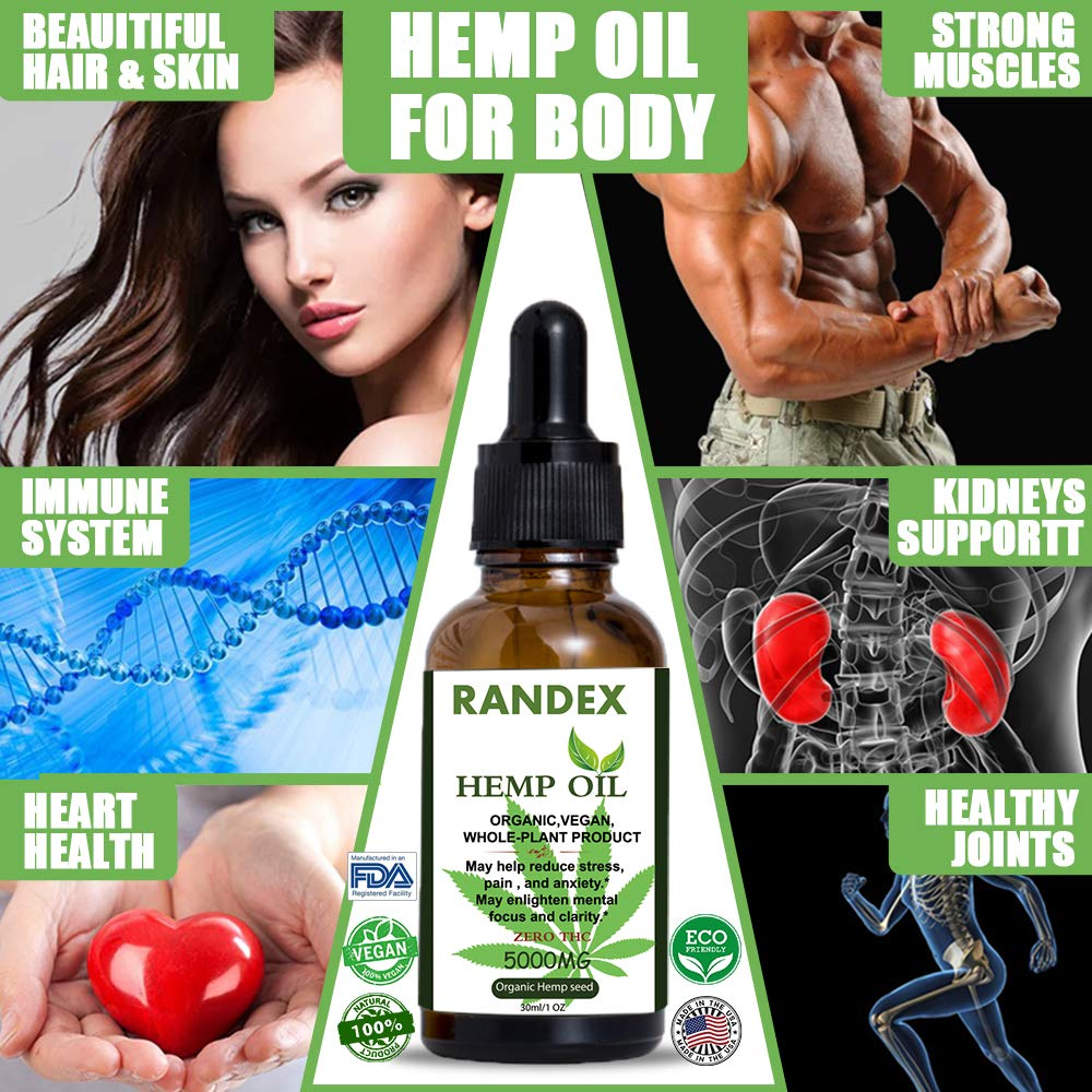 RANDEX Organic Hemp Oil For Stress Relief | 5000 MG