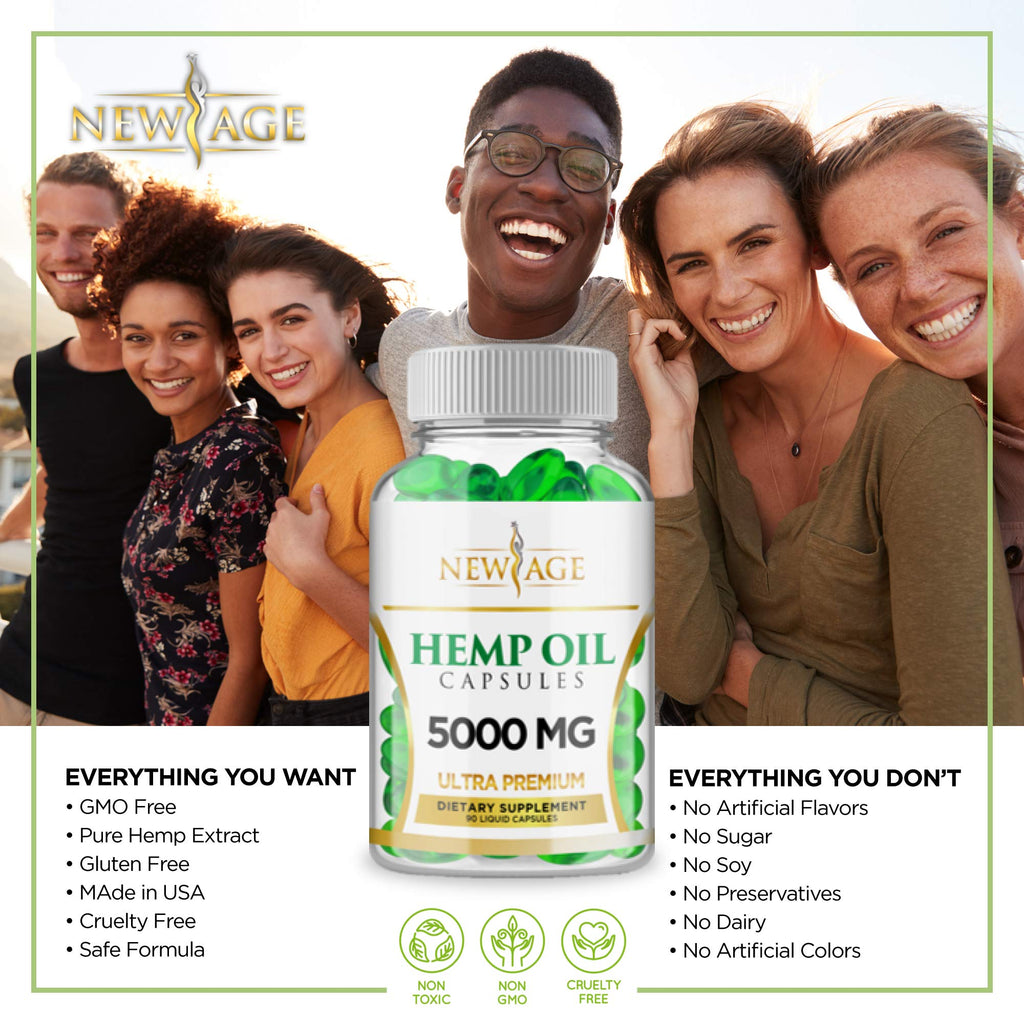 Hemp Oil Capsules - 2 Pack | 5000 MG/Bottle | Rich in Omega 3, 6 & 9