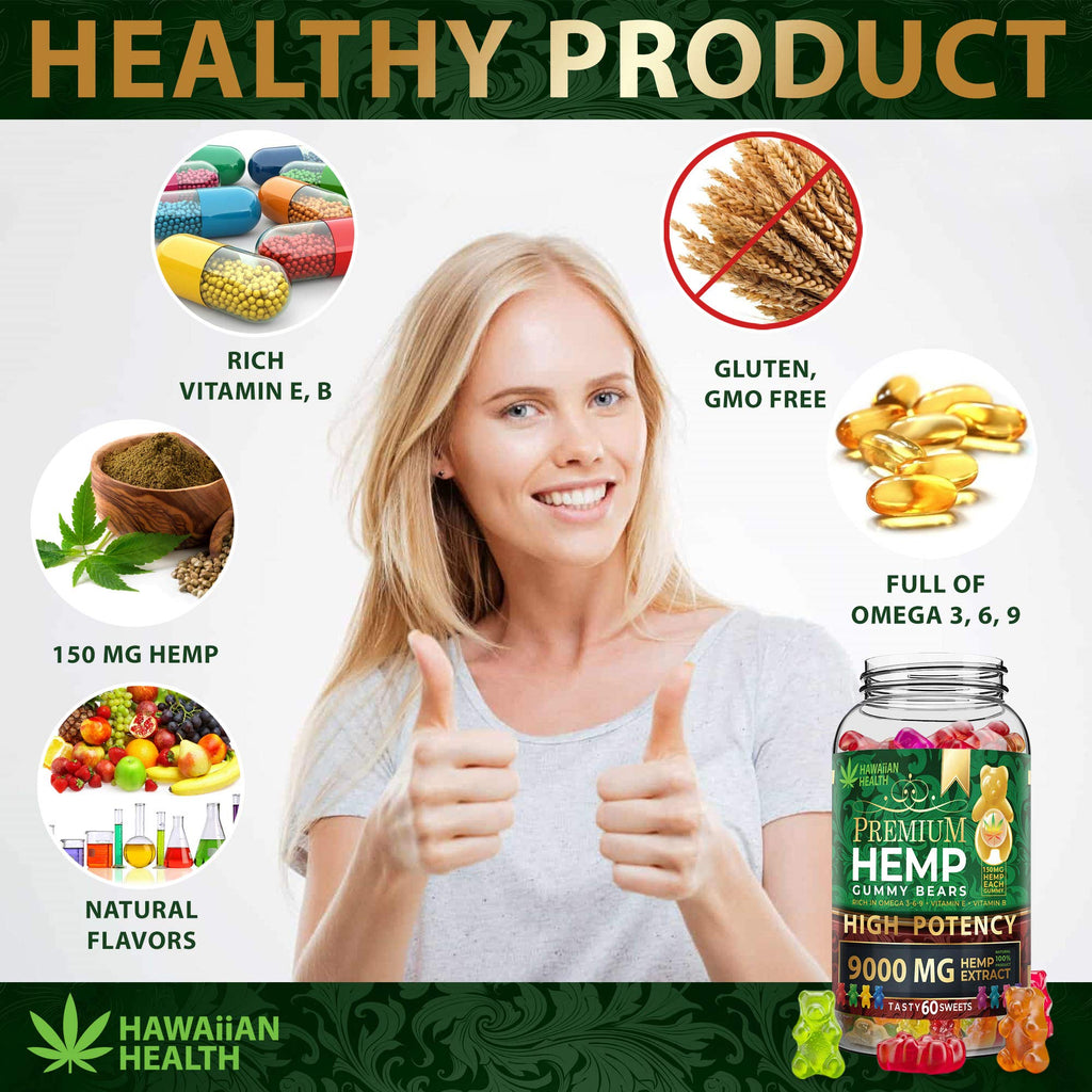 Premium High Potency Fruity Hemp Gummies | 9000mg | 60ct.