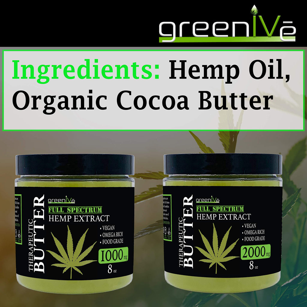 All Natural GreenIVe Hemp Extract Butter | 2000mg | 8oz.